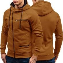 가을 겨울 신사복 후드 긴 소매 지퍼 카디건 까마귀 스웨터 남성 캐주얼 솔리드 후드 풀오버 스웨터 M 3XL
