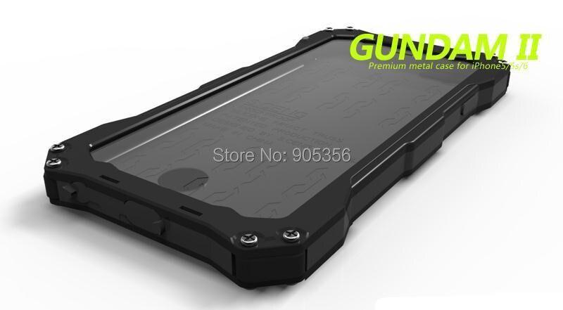 imágenes para De lujo A Prueba de agua A Prueba de Golpes Cubierta de la Caja De Aluminio Para el iphone de Apple 6 6 S 4.7/6 Plus/6 S Plus 5.5 Gorila de Vidrio Templado