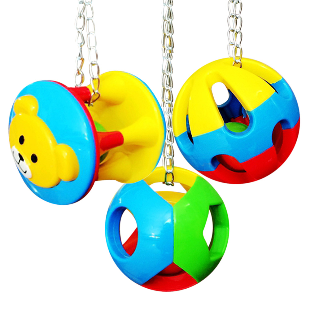 3 Styles Colorful font b Pet b font Bird Bites Toy Parrot Chew Ball Swing Cage