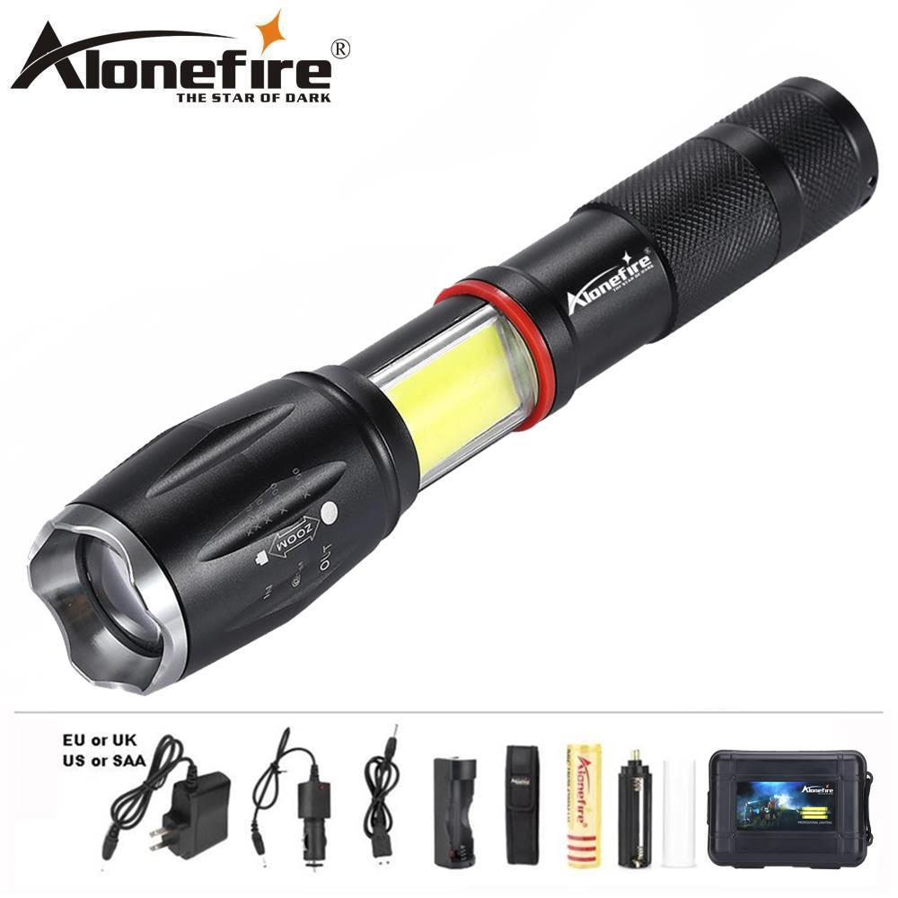 AloneFire G701 Multifunction Zoom Led flashlight 5000lm CREE XML T6 Torch COB lantern Lamp Magnet AAA 18650 Rechargeable battery alonefire e17 led flashlight torch cree xml t6 l2 led lighting 5 modes zoom led camping lamp use aaa 18650 rechargeable battery
