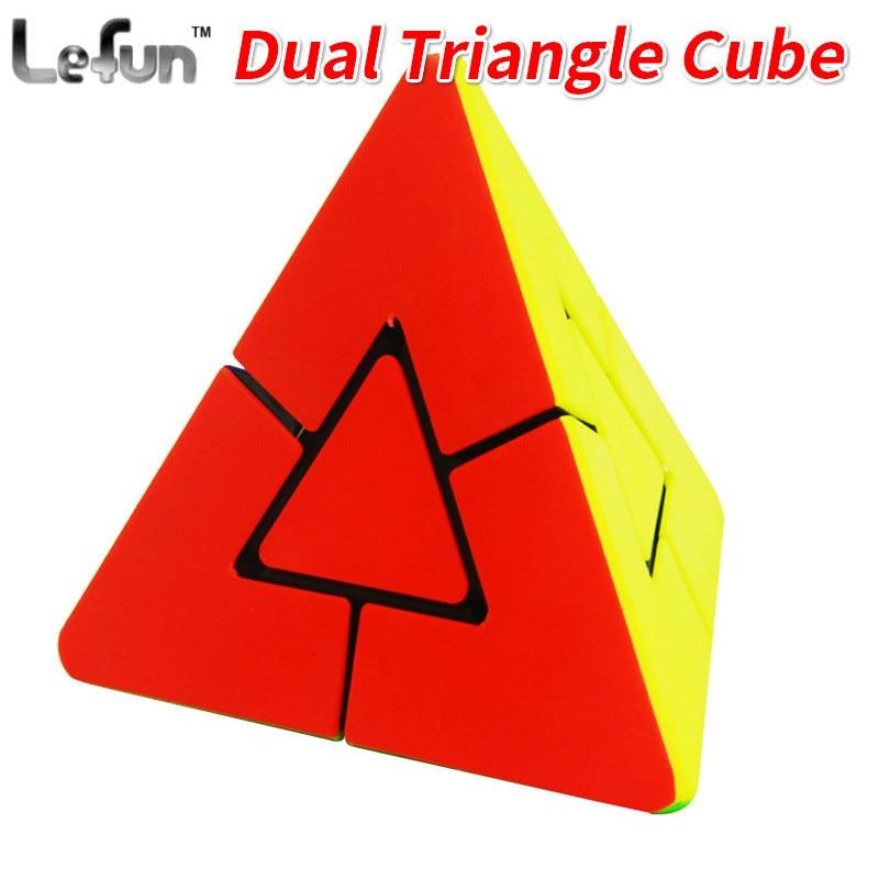 100% Waar Nieuwe Lefun Dual Driehoek Magic Cube Stickerloze/zwart Pyramin Educatief Speciale Speelgoed Voor Kinderen