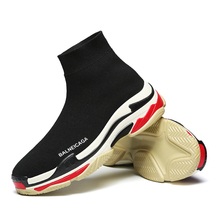 VIXLEO Fly Weaving Men Casual Shoes Colorful Slip On High Top Sock Shoes Lightweight Unisex Sneakers Sapato Masculino Size 35-45