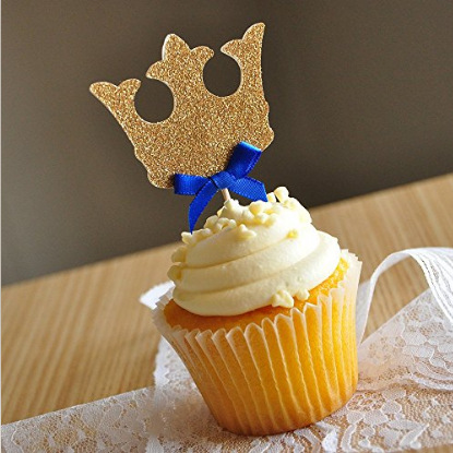 12pcs/lot Gold Prince Crown Cupcake Toppers Picks Birthday Party Decoration Kids Baby Shower Boy Favors Cake Decorating