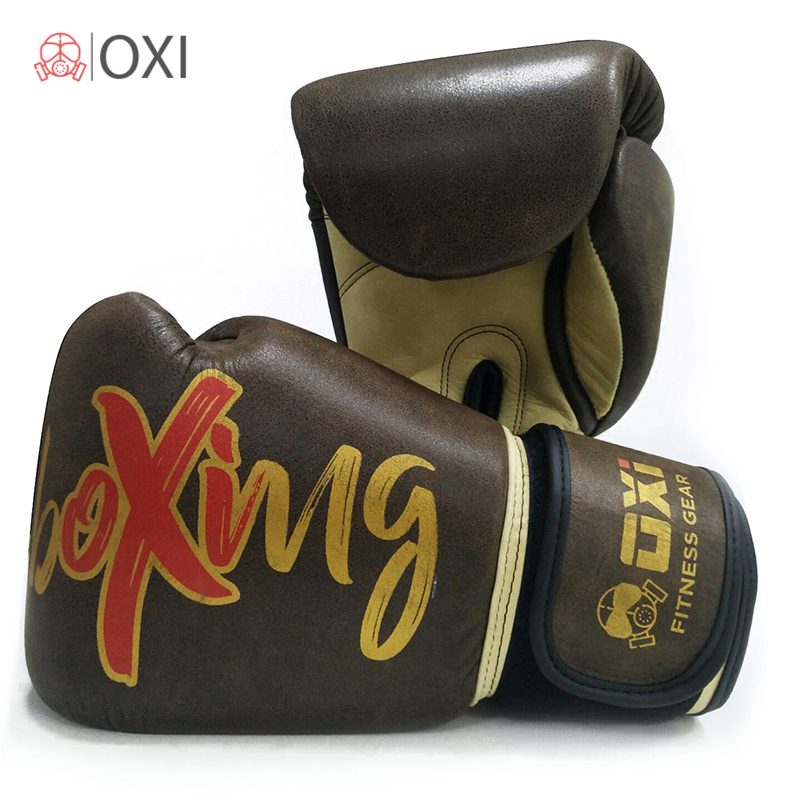 10OZ-16OZ OXI Genuine Cow-Hide Leather Boxing Gloves Fighting Professional Fitness Twin Retro Boxing MMA Gym Training Gloves wesing aiba approved boxing gloves 12oz competition mma training muay thai kickboxing sanda boxer gloves red blue