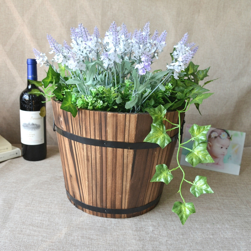 Retro round wooden flower pots planter barrel home garden - Pot de decoration ...