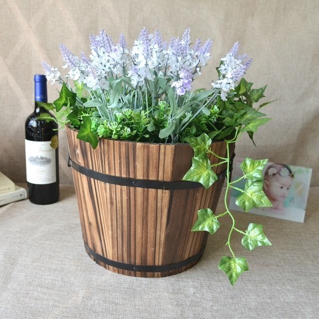 Retro Runde Holz Blumentopfe Pflanzkubel Barrel Haus Garten Aussen