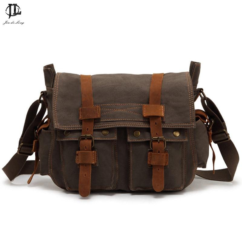 Brand Retro Canvas&Crazy Horse Genuine Leather  Men's Satchel Messenger Bag Crossbody Shoulder Bags Travel Laptop Bags casual canvas satchel men sling bag