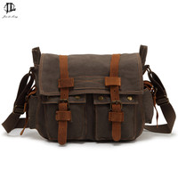 Brand Retro Canvas&Crazy Horse Genuine Leather Men's Satchel Messenger Bag Crossbody Shoulder Bags Travel Laptop Bags