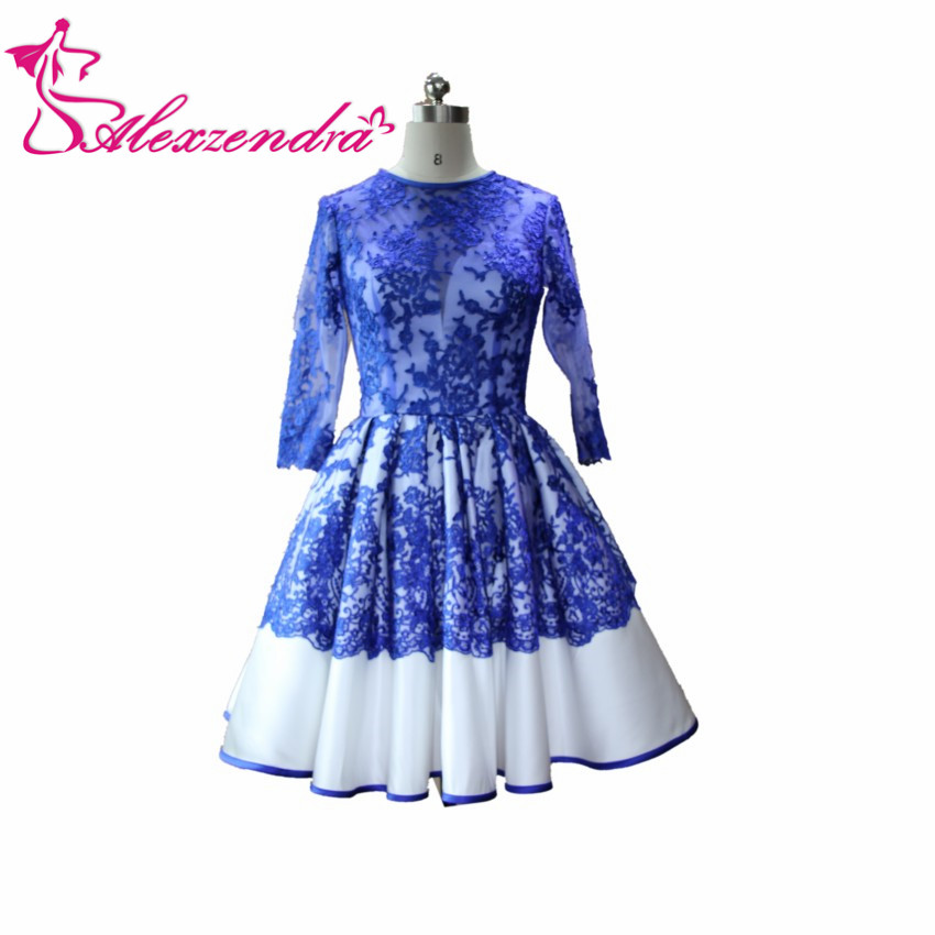 Alexzendra Royal Blue A Line Knee Length   Prom     Dresses   O- Neckline Long Sleeves Lace Party   Dresses