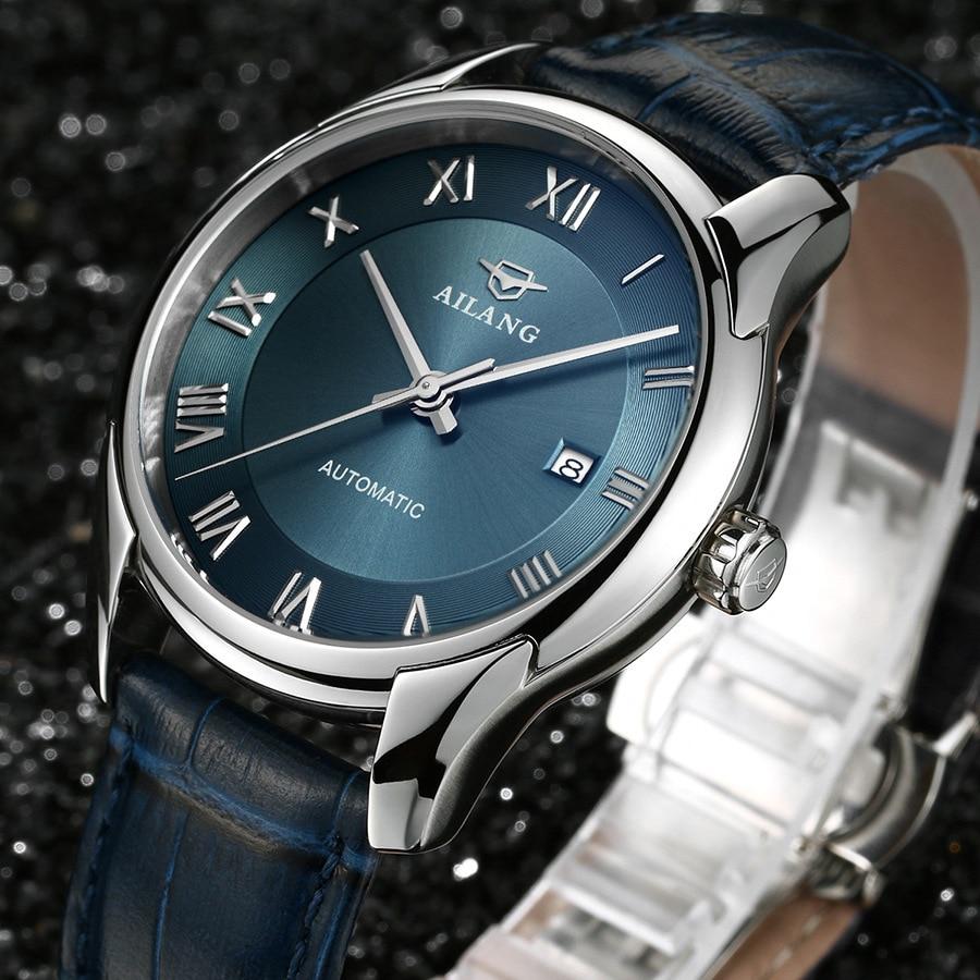 AILANG элегантные в английском стиле Для мужчин Роман масштаб платье часы Механические Wind Бизнес часы календарь аналоговые Relojes 3ATM NW3310