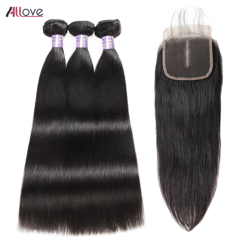 Allove Mongolian Straight Hair 3 Bundles With Closure 100 Human Hair Weave With Closure Free Part Remy Hair Bundles And Closure