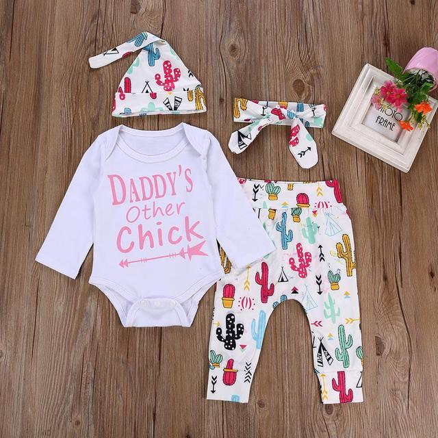 58d7a5ab6 Newborn Baby Boys Girls Clothing Set 4PCS Long Sleeve Tops Romper+ ...