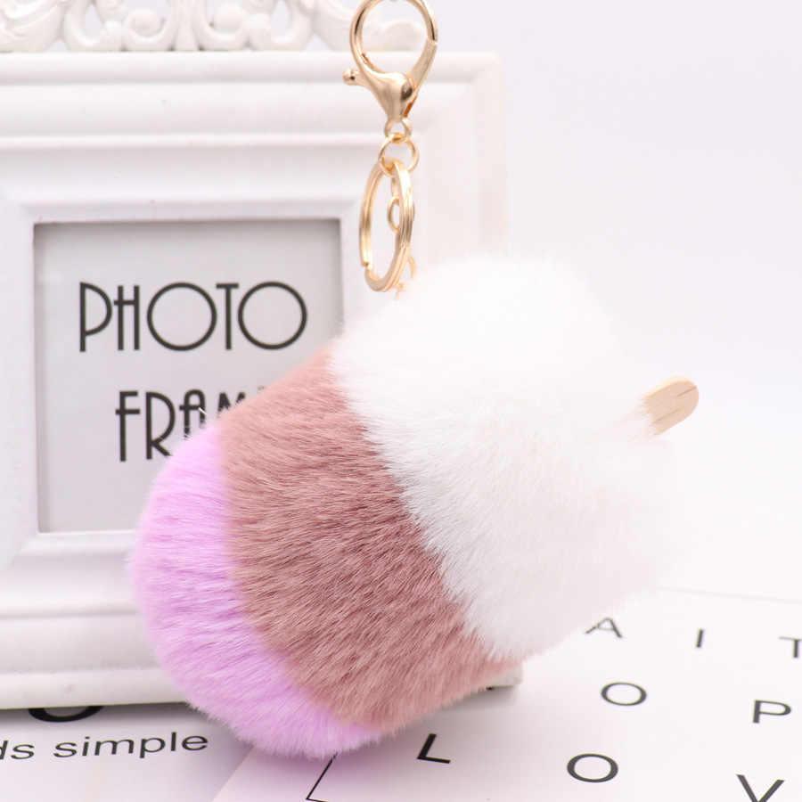 Mode imitatie konijn haar ijs zak hanger popsicle ijs haar bal opknoping bont auto sleutelhanger hot koop