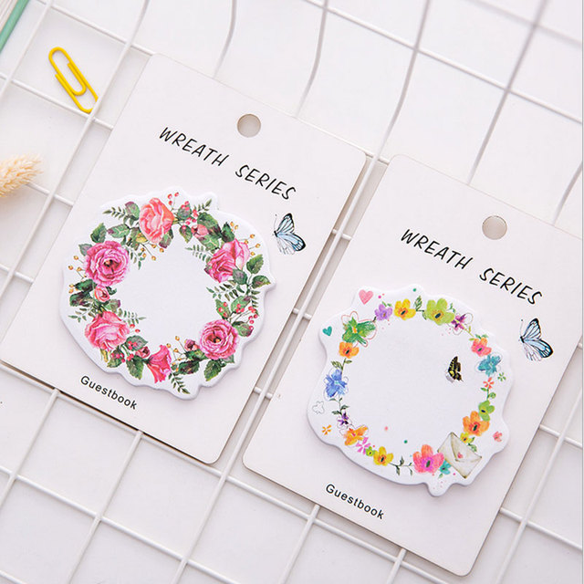 1X cute wreath post-it notes weekly plan Sticky Notes Post It Memo Pad kawaii stationery School Supplies Planner Stickers Paper