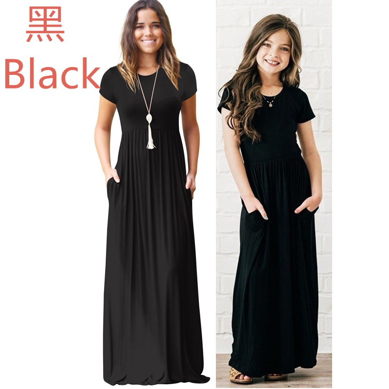 43bb7a605eb4b US $9.89 46% OFF|Summer Mommy And Me Clothes Matching Outfits Pajamas  Family Look Mother Daughter Dresses Maxi Vestidos Mom Girls Dresses Long-in  ...