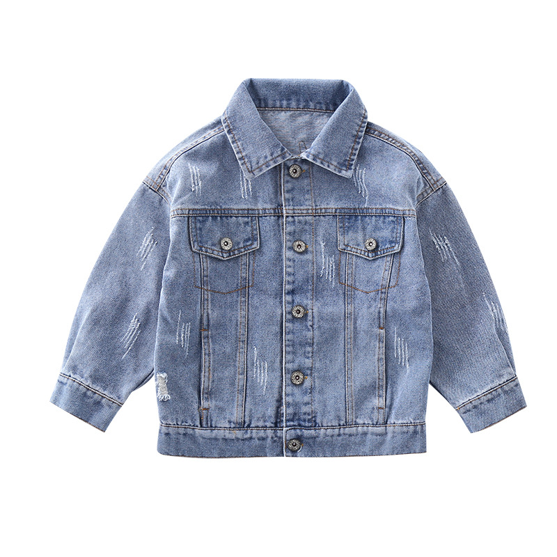 Denim Jackets For Boys Girls Autumn Trench Children's Wash print Clothing cowboy Outerwear Windbreaker Kids Jeans Coats 4-12 T