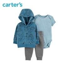 3pcs soft cotton stripes animals print hood jacket set Carter s baby boy spring autumn clothing