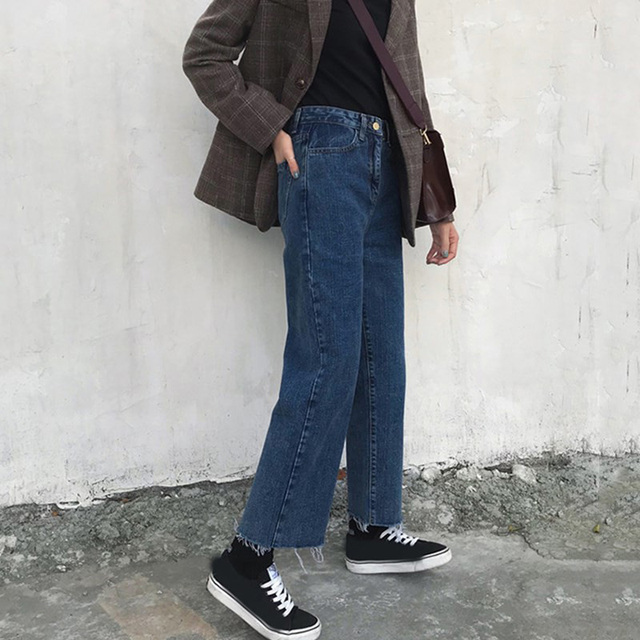 Jeans Denim Solid Tassel Lady Elegant Wide Leg Pant Ankle-length High Waist Womens Trousers Large Size Bottoms Basic Classic 2