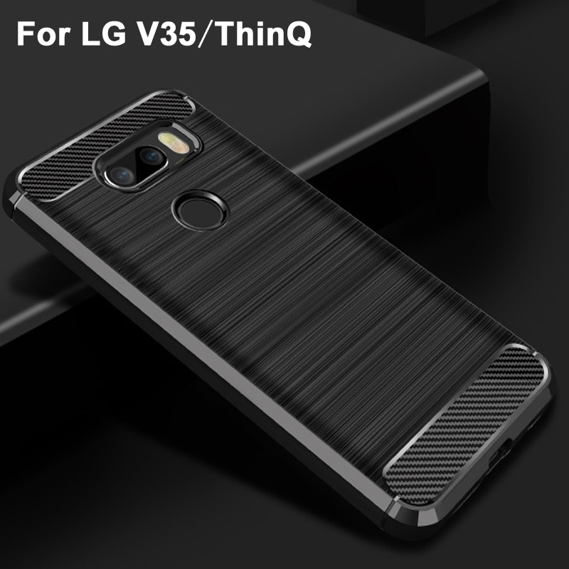US $1 99 |For LG V35 ThinQ case cover Black soft Wiredrawing TPU case for  LG V35 case cover Carbon Fiber Style For LG V 35 phone case-in Half-wrapped