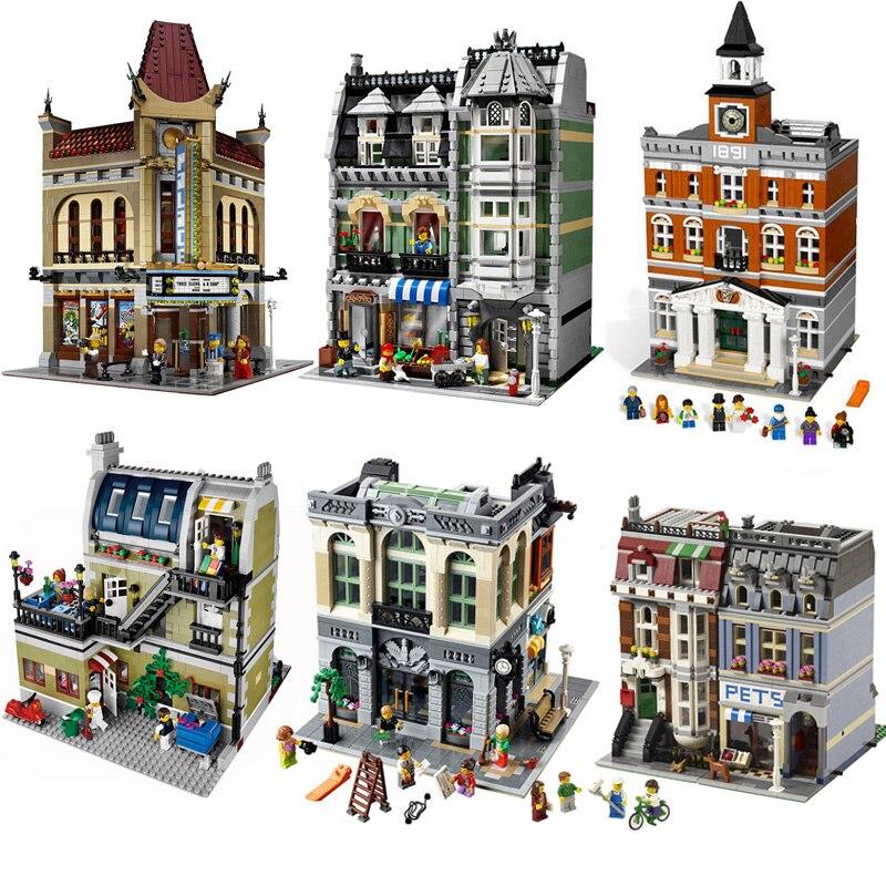 Compatible LegoINGS Street view série Swiss bank Cafe mairie pompiers le center commercial théâtre modèle bloc de construction jouet