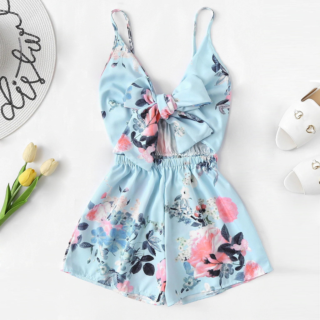 Women's V Neck Casual Sleeveless Tie Front Floral Print Cami Romper Women'S Summer Brief Overalls Kombinezony For Women#30