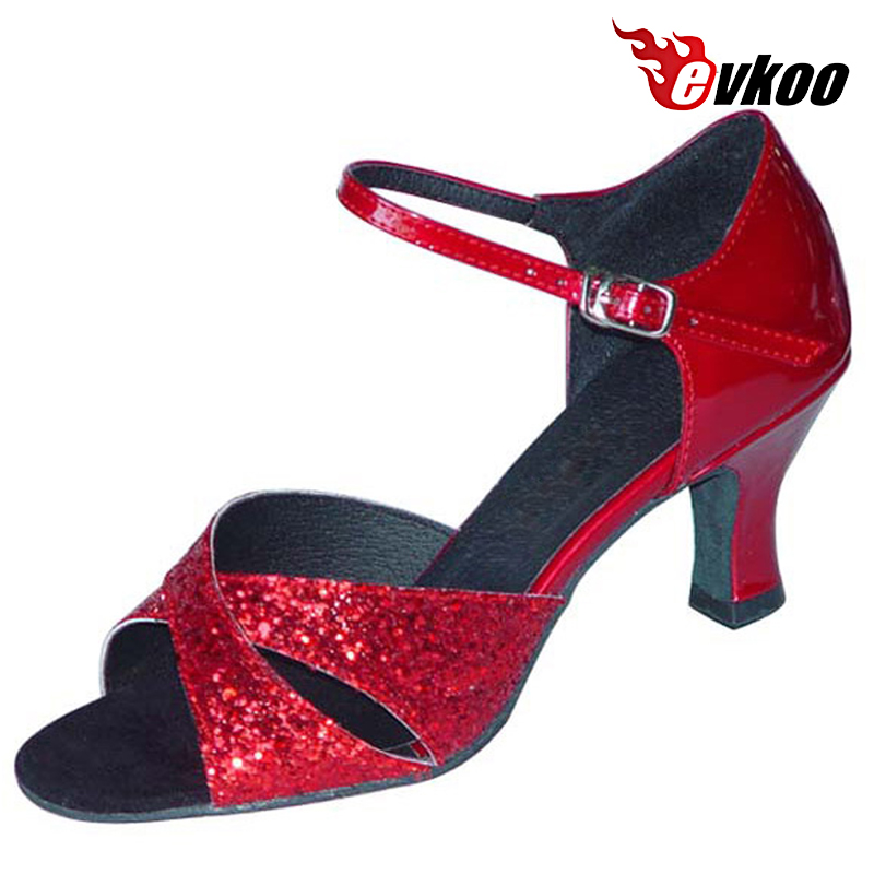 ФОТО Evkoo Dance Patent Leather With Shiny Woman Latin Salsa Dance Shoes 7cm Heel Active Color For Dancing Evkoo-115