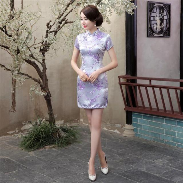 Plus Size 4XL 5XL 6XL Chinese Traditional Dress Women Summer Satin Qipao Short Slim Cheongsam Light Purple Flower Dress WC025