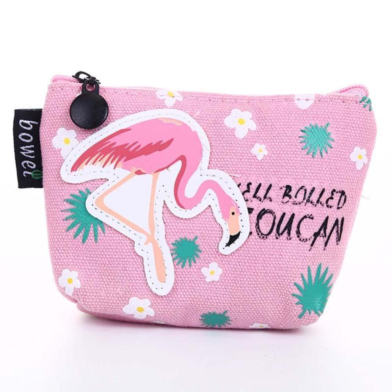 Lovely Flamingo Cartoon Printed Women Coin Purse Canvas Small Change Pouch Zipper Mini Kawaii key Cards Bags Children Wallets 3