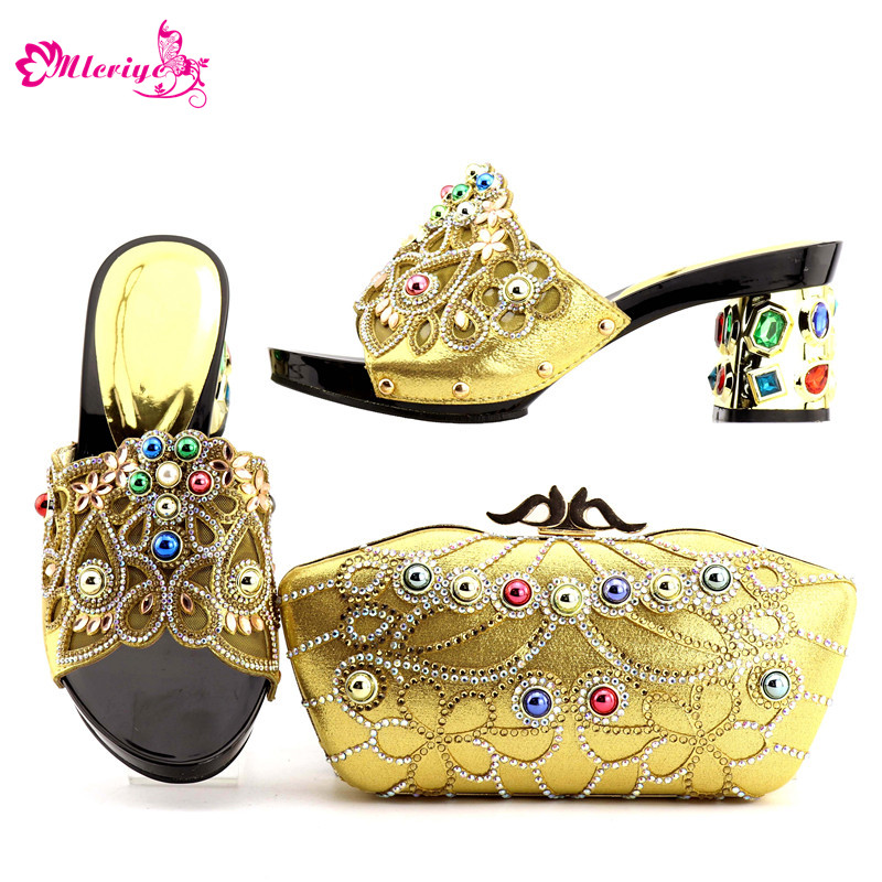 New Arrival Gold Color Italian Shoes with Matching Bags Shoes and Bag Set African Sets 2018 Shoe and Bag Italian Design Sets цена