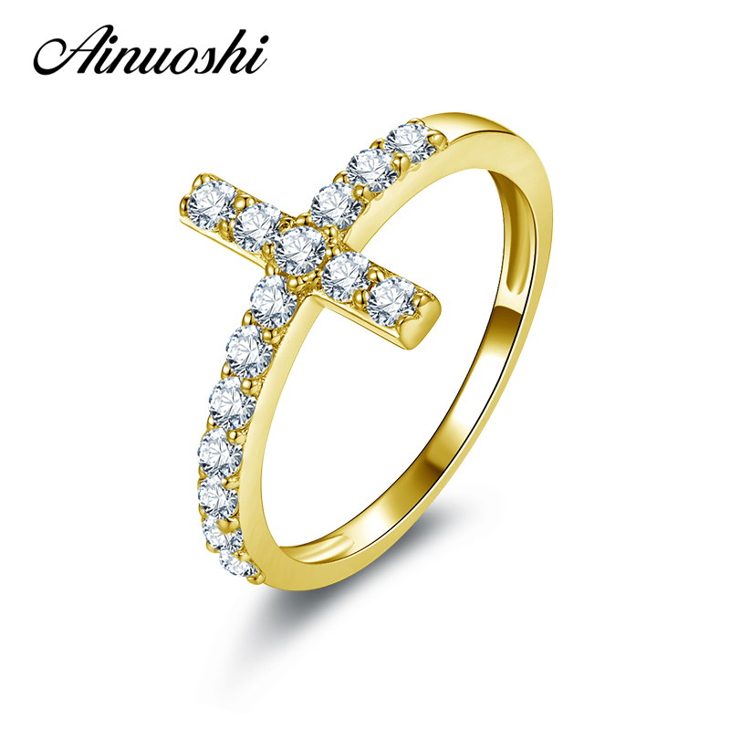 AINUOSHI 10k Solid Yellow Gold Women Wedding Ring Micro Pave SONA Simulated Diamond Cross Bague Bijoux Fashion Bithday Gift Ring new arrival gold color ring bijoux 14mm width big pave setting cz cross x ring for women trendy crystal jewelry wholesale gift