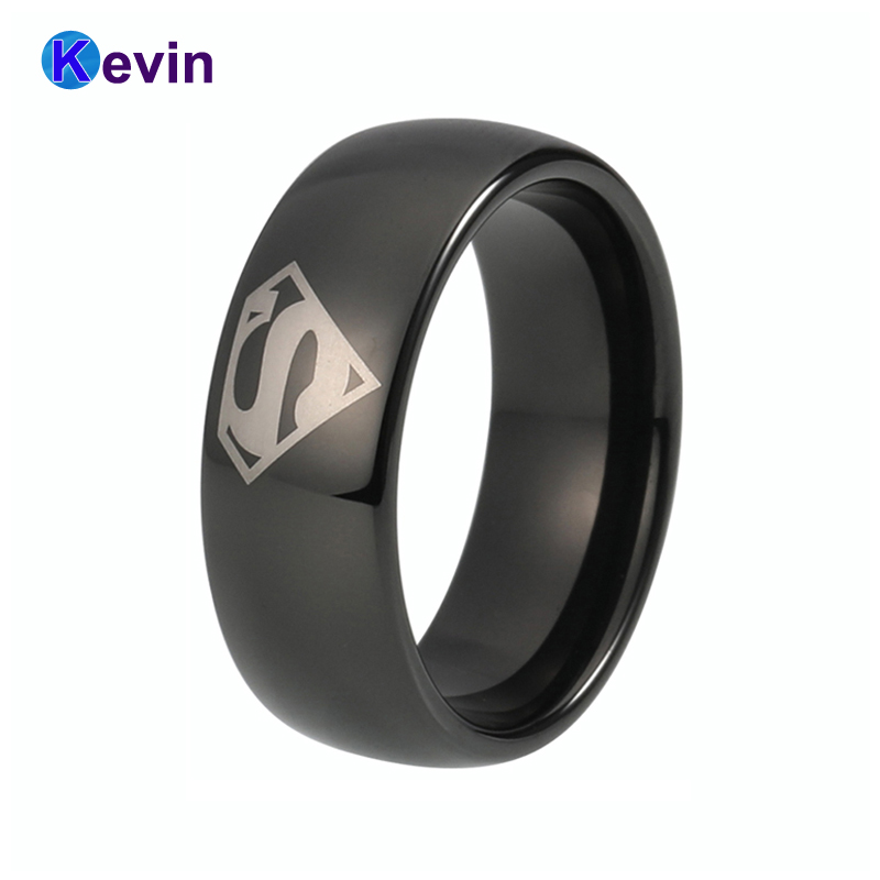 Superman Ring Tungsten Black Ring Width 6MM And 8MM Available цена