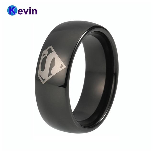 08ec15d3a1f6 Comparar Superman anillo de tungsteno negro ancho 6mm y 8mm disponibles
