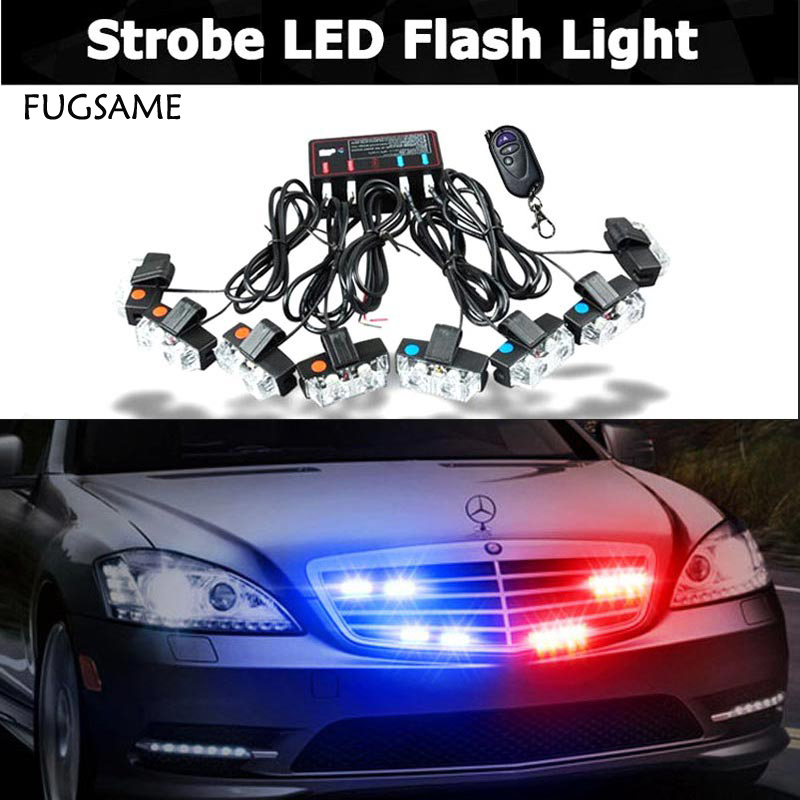 FUGSAME Wireless 2X8 16W 16LED Car Strobe Light Warning light Beacon Emergency Flashing Grill light Red blue, Amber white Colors