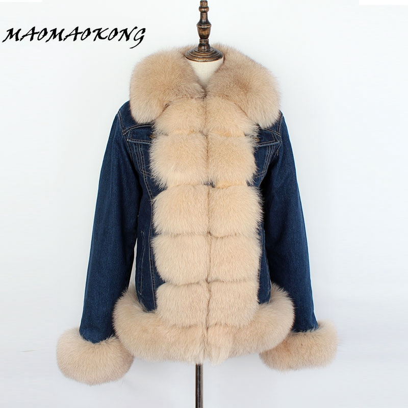 MMK brand 2018 denim parka real fur coat winter jacket women real natural fox fur coat thick warm fur parkas street style new