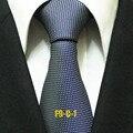 Lingyao 9 cm hombres formales lazos únicos del diseñador corbata azul marino con moda puntos blancos