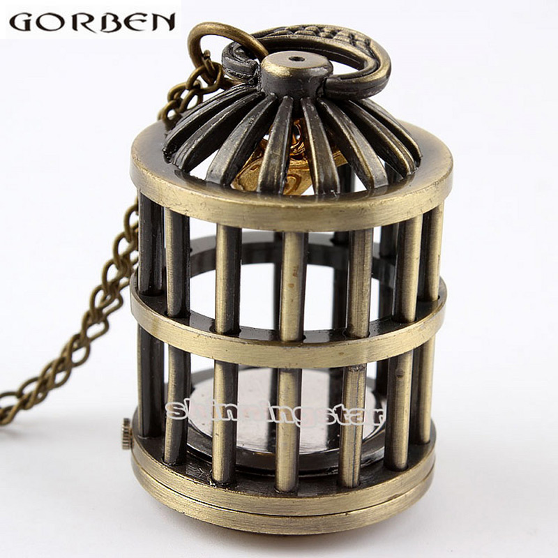Vintage Bird Cage Hollow Bronze Quartz Pocket Watch With Chain Cute Stationary Necklace Pendant Clock Mens Womens Gifts