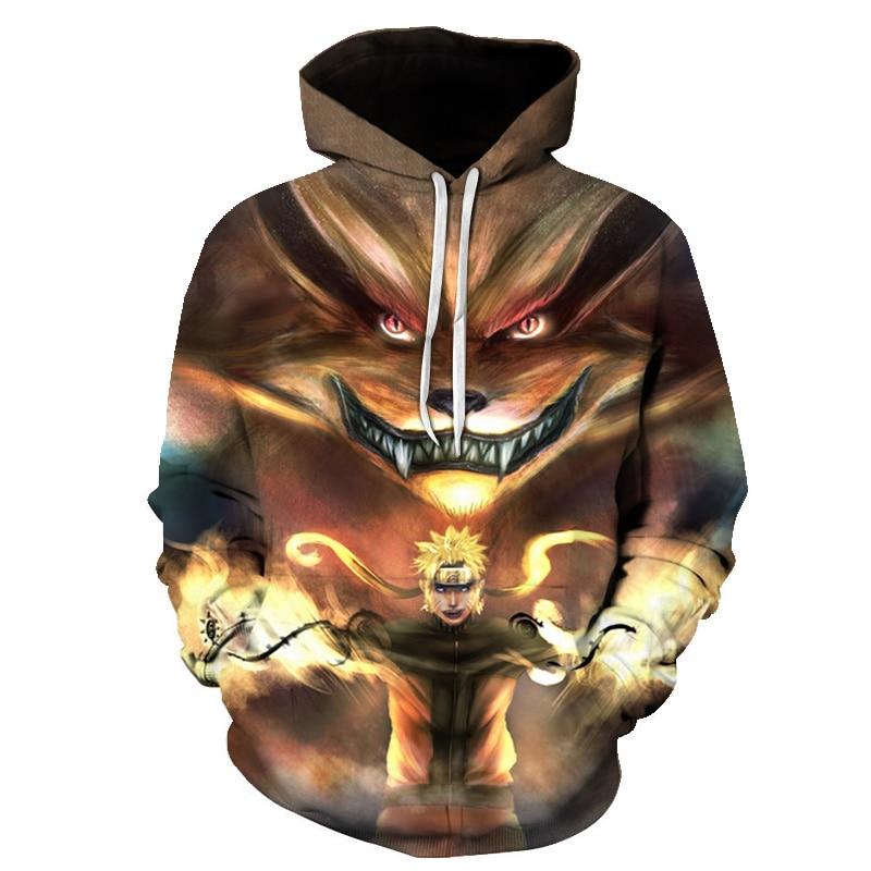 S-6XL 2019 Autumn/Winter Hoodies Men/women Streetwear 3D Print Naruto Men's Sweatshirt Naruto Cartoon Pocket Cosplay