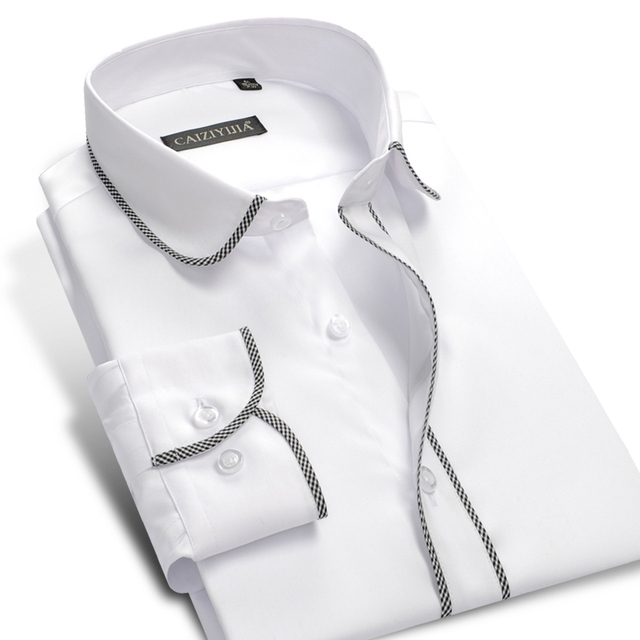 Fashion White Boys Men Long Sleeve Dress Shirt 100% Cotton Famous Brand  Male Formal Business Slim Fit Casual Shirts Plus 4XL