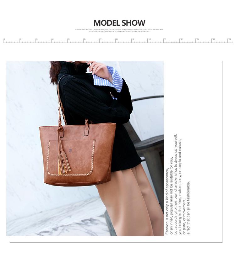 Tinkin  Vintage PU Tassel Women Shoulder Bag Female Retro Daily Causal Totes Lady Elegant Shopping Handbag 5