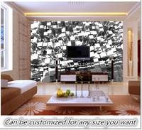Free Shipping Custom 3D Silver Blocks Abstract Wall Mural Wallpaper Living Room Bedroom Background Wallpaper