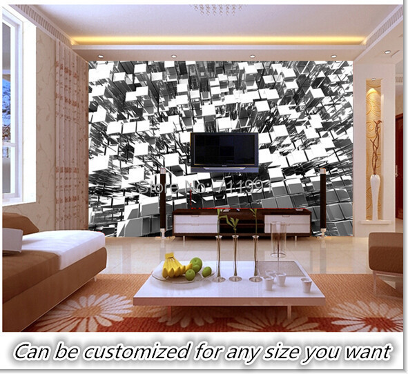 Free Shipping Custom 3d Silver Blocks Abstract Wall Mural