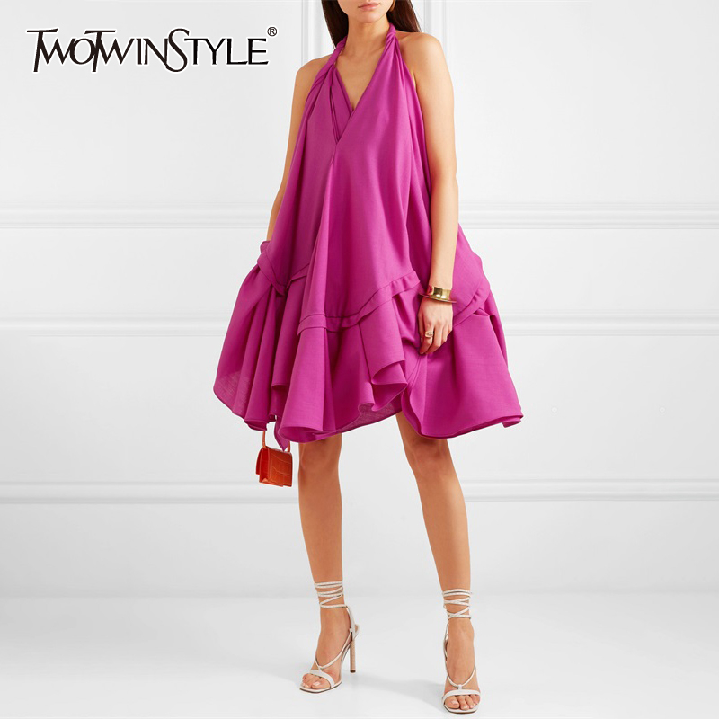 TWOTWINSTYLE Sexy Backless Dress For Women Halter Sleeveless Off Shoulder High Waist Ruffles Dresses Female 2019