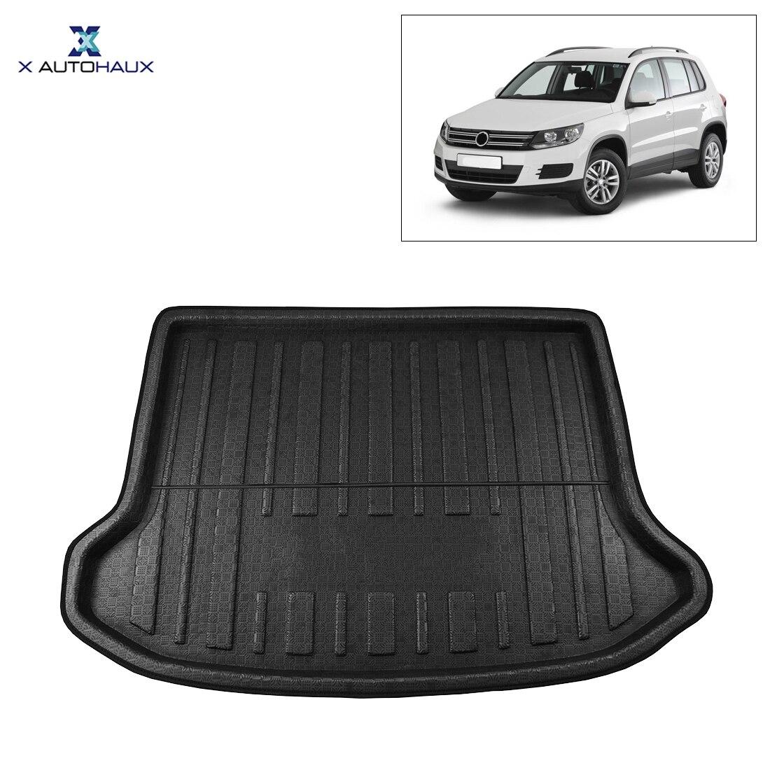 X AUTOHAUX Black Car Rear Trunk Floor Mat Cargo Boot Liner Carpet Tray For VW Tiguan 2012-2016 2013 2014 2015