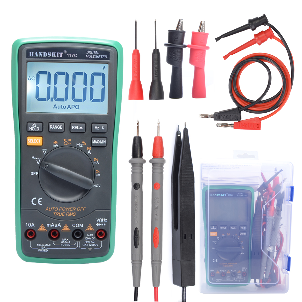 Handskit Digital Multimeter Auto Ranging Digital Multimeter with Alligator Clips AC Voltage Tester Voltage Alert Amp