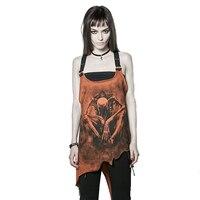 Fashion Goghic Irregular Print Vest For Women Summer Punk Tank Tops Personality Condole Belt Joker Loose