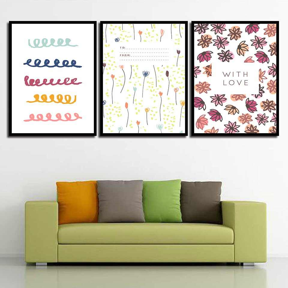Nordic Style Poster Abstract Flowers With Love Canvas Painting Wall Art Prints Cartoon Leaves Pictures Nursery Kids Room Decor