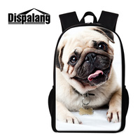 Dispalang Cute Pug Dog Children Boys Back Pack 3D Zoo Animal Bagpack For High School Brand