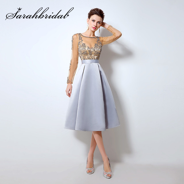 Champagne Cocktail Dresses with Long Sleeves hot Knee Length Short ...