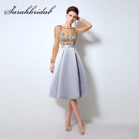 Blue Cocktail Dresses Ever Pretty Cute Women 2015 Knee Length Short Satin Vestidos Plus Size Sexy