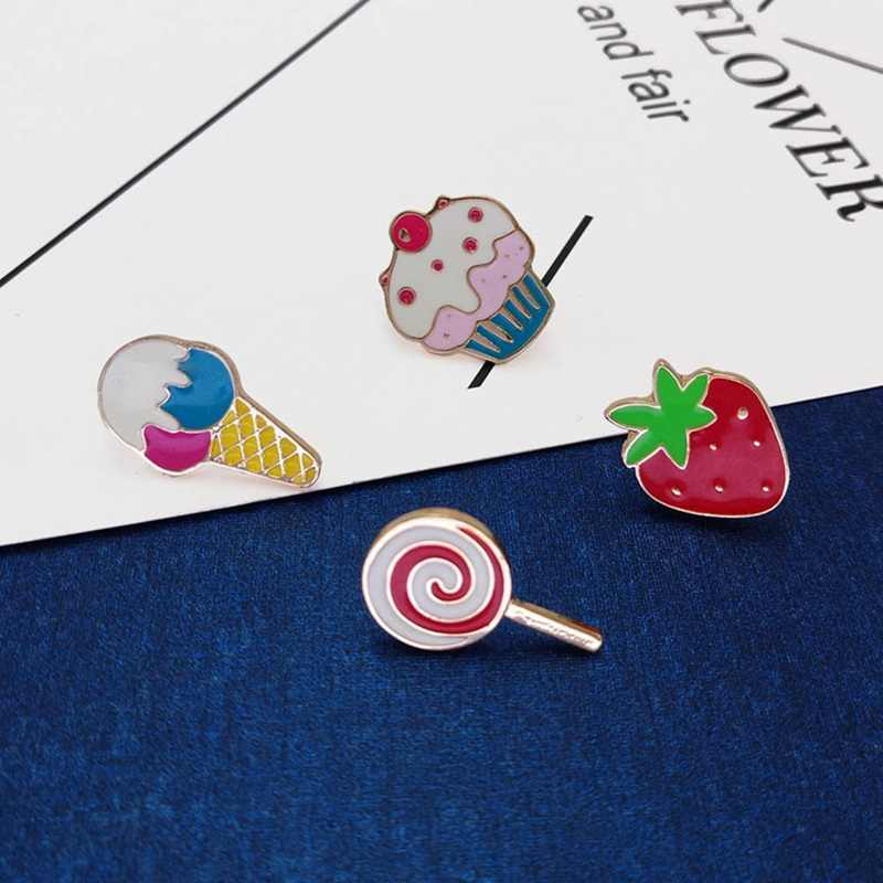Ice Cream Cake Strawberry Kerah Logam Tetes Minyak BROS-Lucu Enamel Bros Pin Lencana Jeans Pakaian Lencana